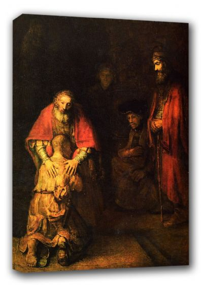 Rembrandt Harmenszoon van Rijn: Return of the Prodigal Son. Religious Fine Art Canvas. Sizes: A3/A2/A1 (00230)